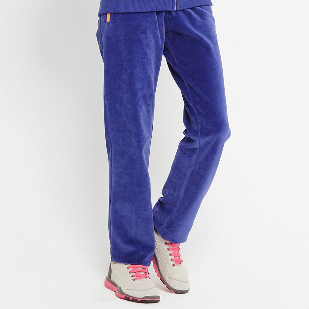 TOP GIRL 絨質抽繩長褲~金屬丈青藍