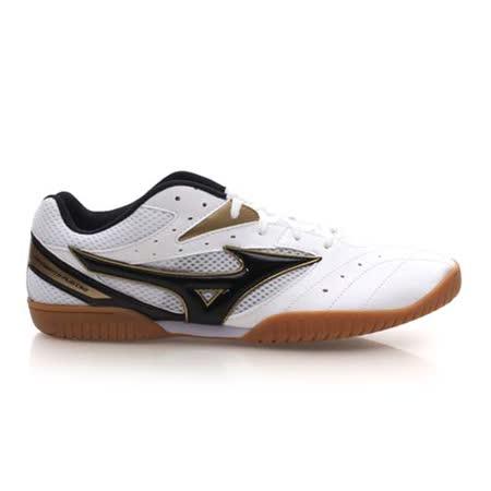 (男) MIZUNO CROSSMATCH PLIO CN2 桌球鞋- 美津濃 白黑金