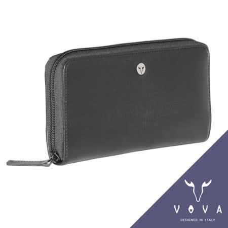 VOVA 凱旋系列11卡拉鍊零錢袋IV紋長夾(黑色)VA104W015BK