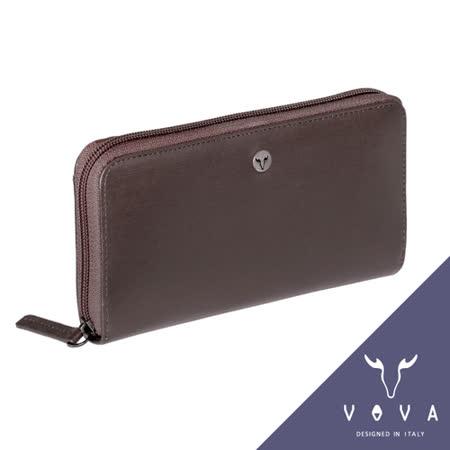 VOVA 凱旋系列11卡拉鍊零錢袋IV紋長夾(咖啡色)VA104W015BR