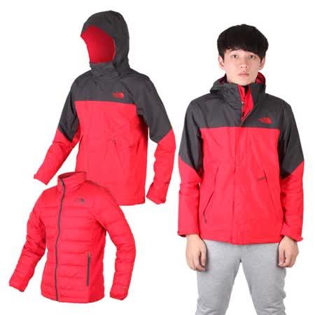 (男) THE NORTH FACE GT羽絨兩件式外套 - 保暖 GORE-TEX 紅墨灰