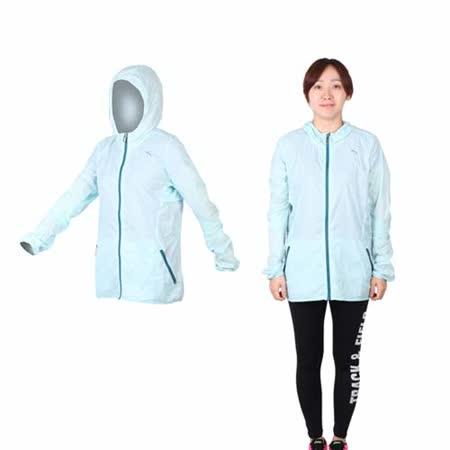 (女) PUMA 慢跑系列素色輕量連帽風衣外套 - 路跑 運動外套 水藍綠