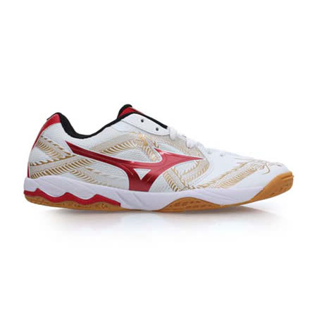(男) MIZUNO WAVE MEDAL BIO CN2 桌球鞋 - 美津濃 白紅金
