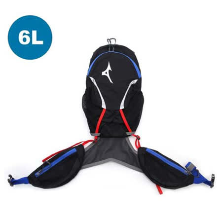 MIZUNO 6L運動後背包-登山 旅行 單車 自行車 雙肩包 黑藍紅 F