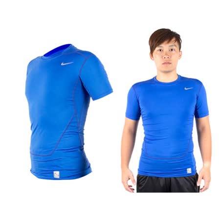 (男) NIKE PRO COMBAT 短袖緊身T恤-緊身衣 慢跑 路跑 健身 重訓 寶藍銀 XL