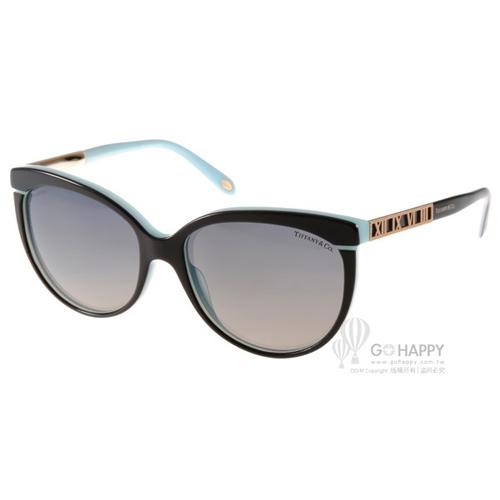 Tiffany&CO.太陽眼鏡 微貓眼偏光款(黑-水藍) #TF4097 8055T3