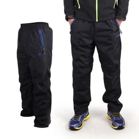 (男) FIRESTAR 運動長褲-保暖 刷毛 防風 風褲 黑寶藍