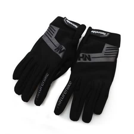 NatureHike 雙層戶外運動手套-保暖 防風 黑灰