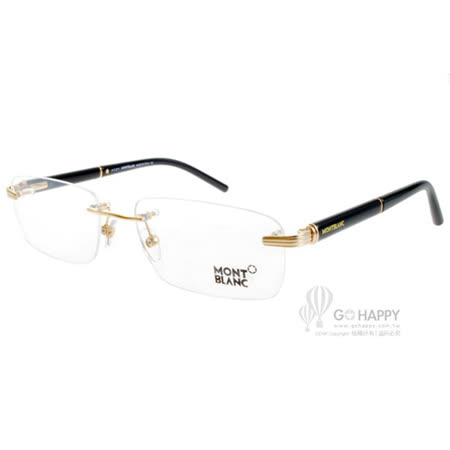 MONTBLANC萬寶龍眼鏡 完美無框設計款(黑-金) #MB376 030