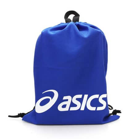 ASICS 束口後背包 台灣製 -鞋袋 雙肩包 亞瑟士 寶藍白 F