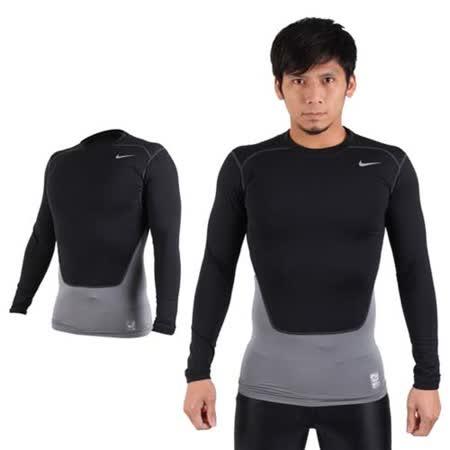 (男) NIKE PRO COMBAT 長袖緊身衣-保暖 慢跑 健身 緊身T恤 黑銀