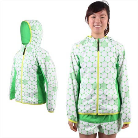 (女) MIZUNO 連帽風衣外套- 慢跑 路跑 平織 美津濃 白綠黃