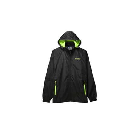 (男) FIRESTAR 防風外套 -刷毛 保暖 風衣 防潑水 可拆式連帽 黑螢光綠