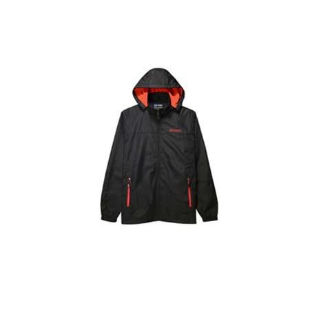 (男) FIRESTAR 防風外套 -刷毛 保暖 風衣 防潑水 可拆式連帽 黑紅