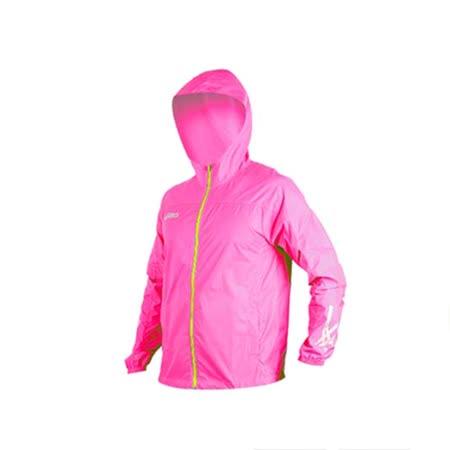 (男) ASICS 防風衣外套-慢跑 防潑水 風衣 粉紅綠 S