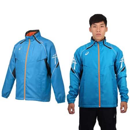 (男) ASICS 背部保暖風衣外套 - 立領 刷毛 防風 亞瑟士 湖水藍銀