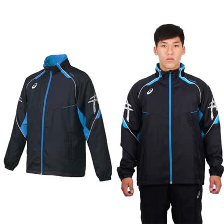 (男) ASICS 背部保暖風衣外套 - 立領 刷毛 防風 亞瑟士 丈青銀