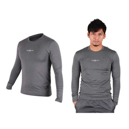 (男) FIRESTAR 緊身長袖T恤-慢跑 路跑 運動T恤  麻灰