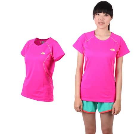(女) THE NORTH FACE 短袖T恤-短T 圓領T 慢跑 路跑 螢光粉