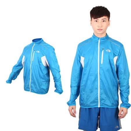 (男) THE NORTH FACE 風衣外套- 防潑水 防風 立領 休閒外套 藍白