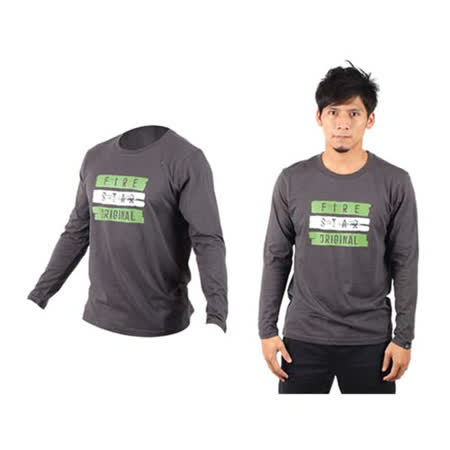 (男) FIRESTAR 棉質長袖T恤-休閒T恤  深麻灰綠