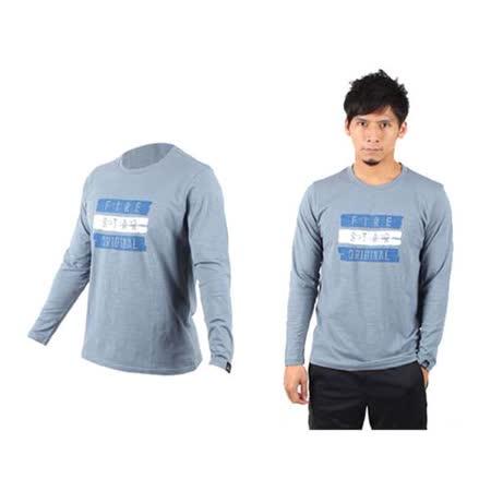 (男) FIRESTAR 棉質長袖T恤-休閒T恤  藍灰