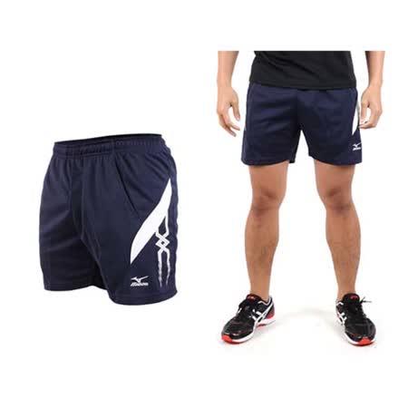 (男) MIZUNO 運動短褲-慢跑 網球 桌球 美津濃  深藍白