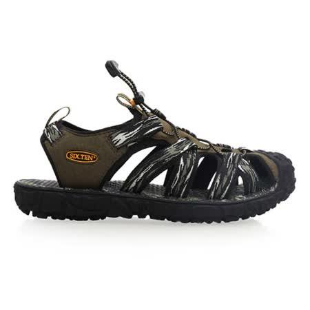 (男) SOFO 護趾涼鞋-拖鞋 休閒涼鞋 軍綠黑
