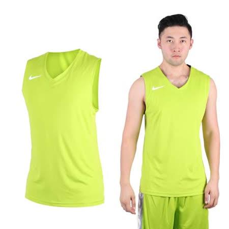 (男) NIKE 運動背心-針織 籃球背心 慢跑 路跑 綠白
