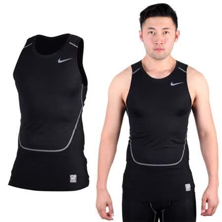 (男) NIKE PRO COMBAT 緊身背心-慢跑 路跑 重訓 健身 黑灰