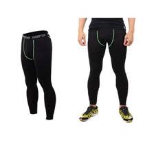 (男) FIRESTAR 機能緊身長褲-慢跑 路跑 與NIKE PRO同版型  黑綠