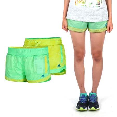 (女) ADIDAS 雙面運動短褲-慢跑 路跑 愛迪達 青綠黃