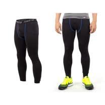 (男) FIRESTAR 機能緊身長褲-慢跑 路跑 與NIKE PRO同版型  黑寶藍