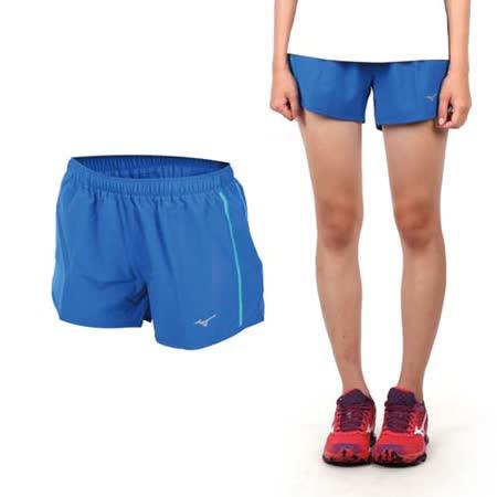 (女) MIZUNO 路跑褲-短褲 慢跑短褲 美津濃  藍綠