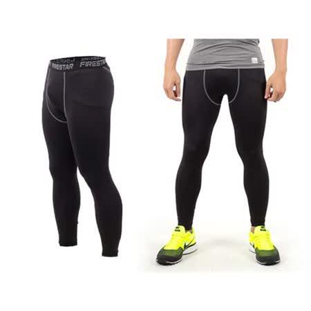 (男) FIRESTAR 機能緊身長褲-慢跑 路跑 與NIKE PRO同版型  黑灰