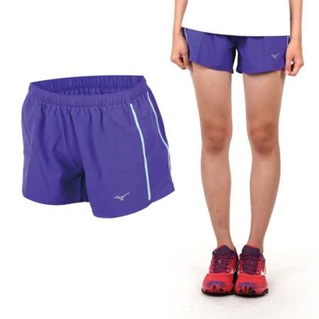 (女) MIZUNO 路跑褲-短褲 慢跑短褲 美津濃  紫綠