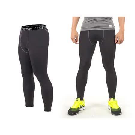 (男) FIRESTAR 機能緊身長褲-慢跑 路跑 與NIKE PRO同版型  墨灰黑