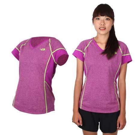 (女) THE NORTH FACE FLASHDRY短袖T恤-慢跑 路跑 快乾設計 紫螢光綠