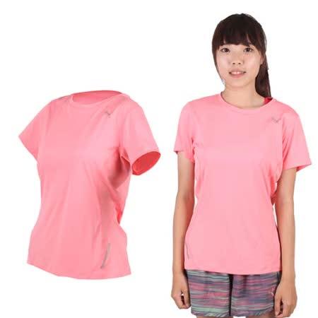 (女) PUMA 短袖T恤-短T 圓領 慢跑 路跑 粉紅