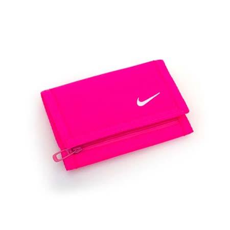 NIKE BASIC 皮夾-三折短夾 錢包 皮包  螢光粉 F