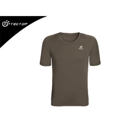 (男) TECTOP  短袖T恤-7色- 慢跑 圓領 速乾 透氣 吸溼排汗 休閒短T 軍綠