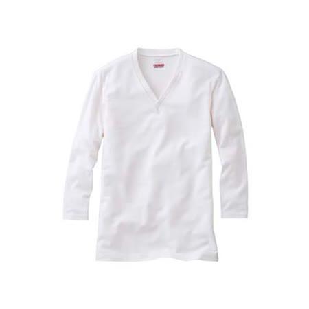 (男) MIZUNO BREATH THERMO V領長袖T恤發熱衣-保暖 消臭  白