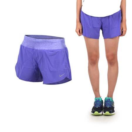 (女) NIKE 運動短褲-慢跑 路跑 紫銀