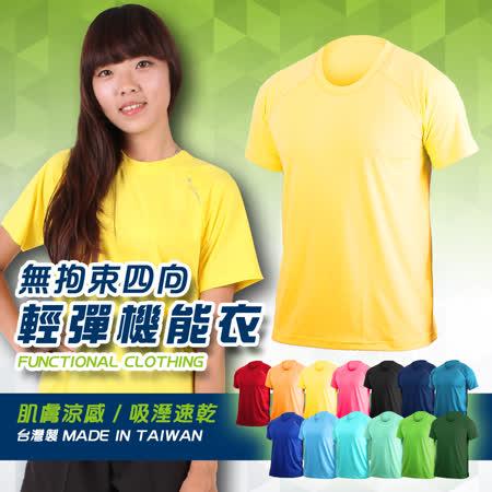 (女) HODARLA 無拘束輕彈機能運動短袖T恤-抗UV 圓領 台灣製 涼感 藍綠