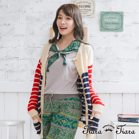 【Tiara Tiara】三色橫紋拼貼風排釦針織罩衫外套 (紅x藍x米)