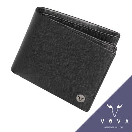 VOVA 自由系列9卡透明窗可翻式蜥蜴紋短夾(黑色)VA106W004BK