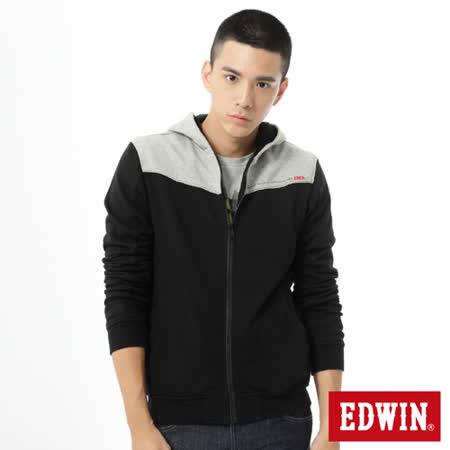 EDWIN 網路限定 剪接配色拉T外套-男-黑色