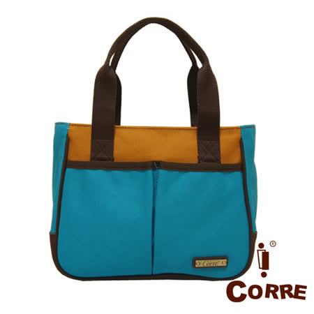 CORRE - 經典帆布款MIT側肩托特包-藍色
