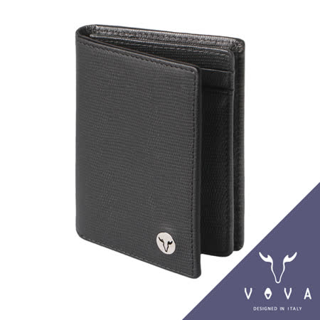 VOVA 自由系列3卡透明窗蜥蜴紋名片夾(黑色)VA106W010BK