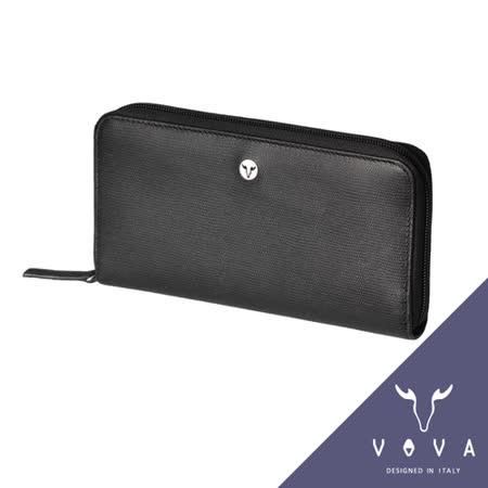 VOVA 自由系列11卡拉鍊零錢袋蜥蜴紋長夾(黑色)VA106W015BK